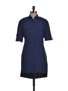 Navy Blue Tunic With Rivetted Shoulder Tabs - Femella