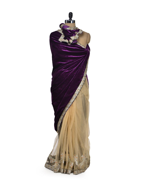 Elegant Beige & Purple Designer Saree - Get Style At Home