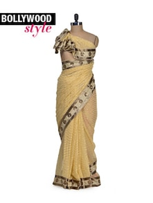 Elegant Yellow-Gold Designer Saree - Get Style At Home