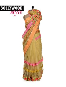 Dull Gold Designer Saree - Get Style At Home