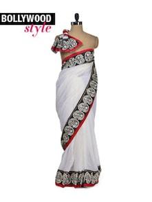 Elegant White Paisley Border Saree - Get Style At Home