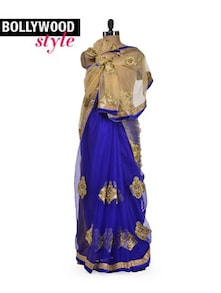 Blue & Gold Designer Saree - Get Style At Home