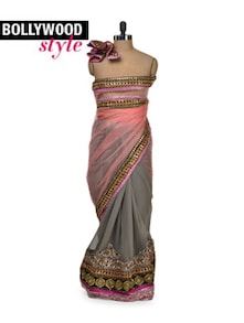 Elegant Grey & Peach Net Saree - Get Style At Home
