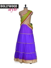 Purple & Green Lehenga Saree - Get Style At Home