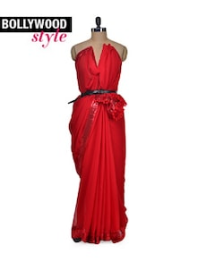 Red Hot Sequined Saree - Get Style At Home