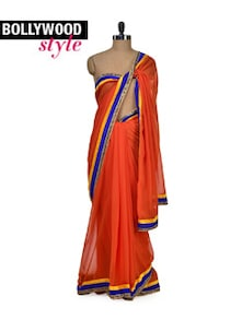 Elegant Orange Net Saree - Get Style At Home