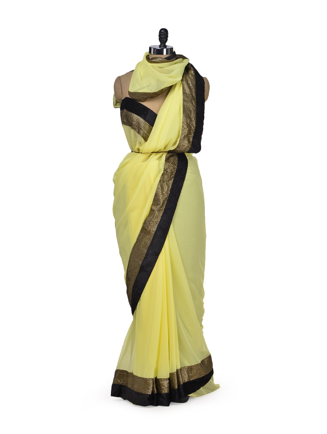 Chic Yellow Designer Saree - Get Style At Home