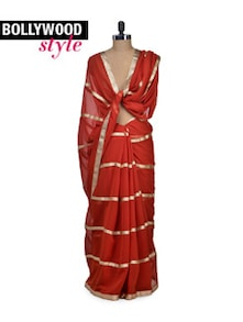 Elegant Orange & Gold Saree - Get Style At Home