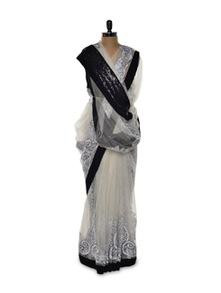 Gorgeous White Net Saree - Istyledeals