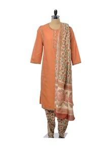 Sophisticated Orange And Green Salwar Suit - KILOL