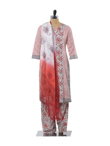 Red And Black Floral Printed Cotton Salwar Suit - KILOL