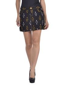 Ikkat Print Black Short Skirt - Desiweaves