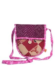 Pink & Purple Patchwork Sling Bag - Desiweaves