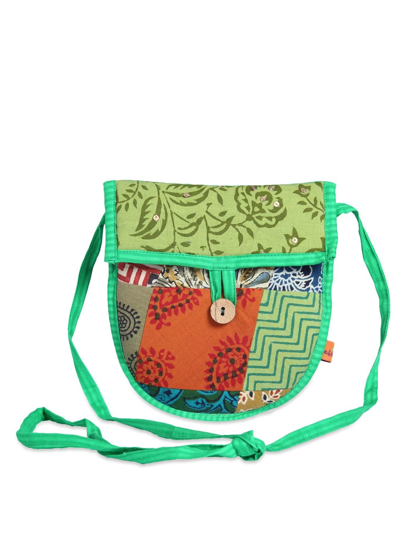 Green Patchwork Sling Bag - Desiweaves
