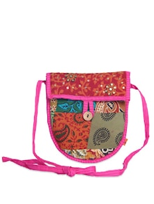 Pink & Red Patchwork Sling Bag - Desiweaves