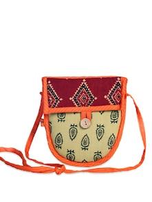 Ethnic Beige-Maroon Sling Bag - Desiweaves