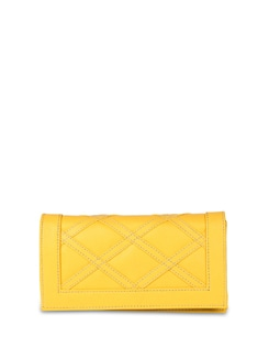 Yellow Faux Leather Clutch - ALESSIA