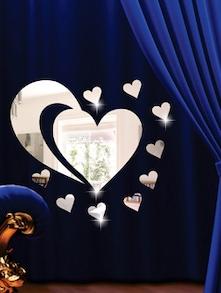 Curvy Heart 3D Mirror Sticker - Zeeshaan