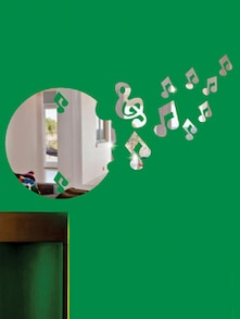 Flying Music Notes 3D Mirror Sticker - Zeeshaan