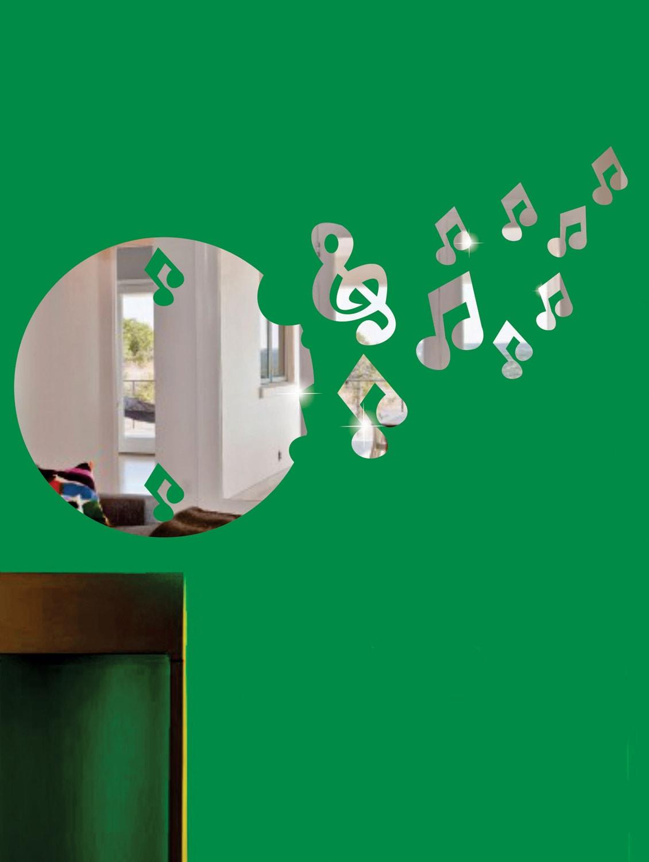 Flying Music Notes 3D Mirror Sticker - Zeeshaan