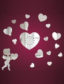 Cupid Heart 3D Mirror Sticker - Zeeshaan