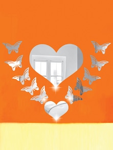 Butterflies Around Heart 3D Mirror Sticker - Zeeshaan
