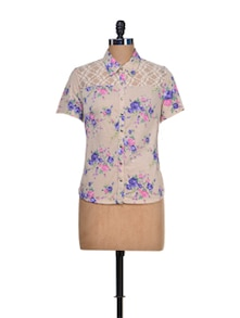 Beige Floral Shirt With Mesh Yoke - KAXIAA