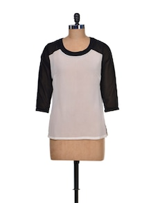 Black & White Colorblocked Top - KAXIAA
