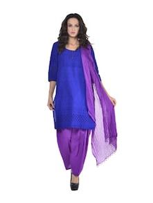 Matching Set Of Salwar And Dupatta In Purple - Jaipurkurti.com