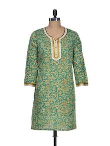 Gracious Green Cotton Kurti - Mishka