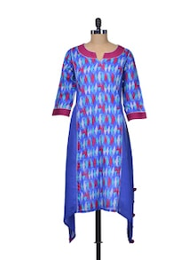 Blue Printed Cotton Kurta - Indie Cotton Route