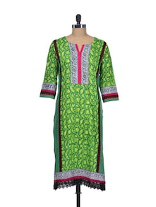 Green Printed Cotton Kurta - Indie Cotton Route