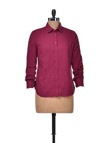 Solid Maroon Cotton Shirt - Qils