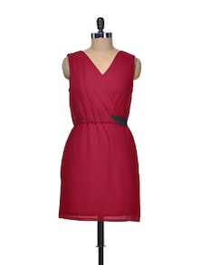Ruby Red Dress With Pleated Yoke - Besiva