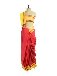 Elegant Red & Yellow Cotton Saree - Spatika Sarees