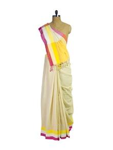 Traditional Beige Handwoven Cotton Saree - Spatika Sarees
