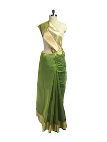 Traditional Mehendi & Gold Cotton Silk Saree - Spatika Sarees