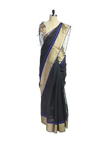 Ethnic Black & Blue Maheshwari Saree - Spatika Sarees