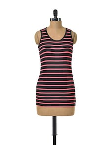 Striped Coral & Black Tank Top - Deal Jeans
