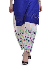 White Phulkari Patiala Salwar - Home Of Impression