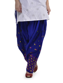Elegant Blue Phulkari Patiala Salwar - Home Of Impression