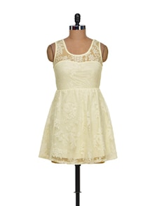 Chic Off-White Short Lace Dress - Sanchey