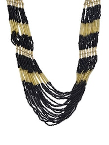Golden And Black Beads Chain Necklace - J STYLE