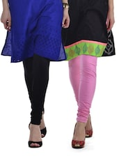 Black & Pink Leggings - Set Of 2 - Tulsattva