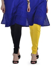 Black & Yellow Leggings - Set Of 2 - Tulsattva