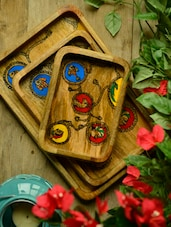 Traditional Wooden Serving Trays - Wildflower