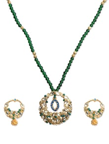 Attractive Emerald Necklace Set - KSHITIJ