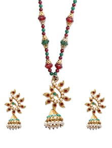 Beaded Necklace With Peacock Pendant Set - KSHITIJ
