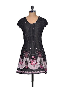 Black Floral Printed Cotton Tunic - Mind The Gap