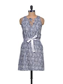 Grey Printed Dress - Mind The Gap
